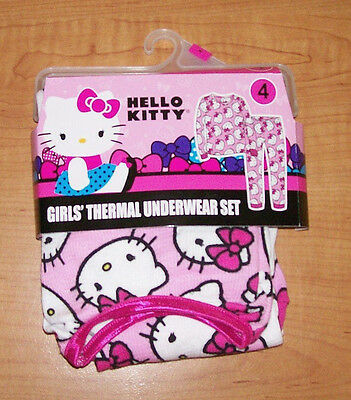 Brand NEW! Hello Kitty Girls Thermal 2 Pc Underwear Set Size 4 Pants & Top NWT