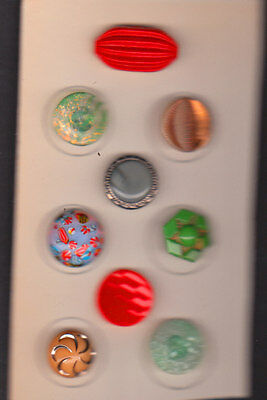 9 OLD vtg  GLASS BUTTONS pretty mix of colors and deisgns