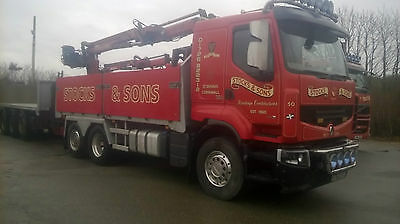Renault 6x2 brick/block lorry with atlas crane