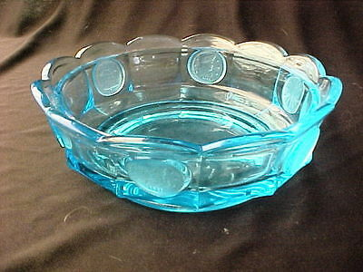 Vintage Fostoria Coin Pressed Blue Crystal Glass Bowl Candy Dish.