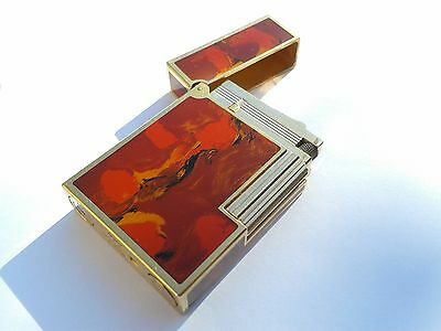 Authentic Lighter Dupont NARVAL Vintage Line 2 Laque Art Deco Paint Gold Plated