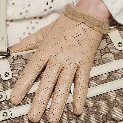 Ladies Woman Genuine Nappa Leather&Lace Perforated Driving Gloves On Sale #L120