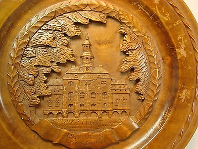 Vintage Ratiiaus Luneburg Ornately Carved Wood Plaque 10 1/2 Inches