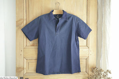 Antique French men's shirt INDIGO WORK WEAR c 1900
