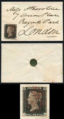 Penny Black (IL) Plate 5 Fine 4 Margins on Tiny Envelope Contrary to Regulations