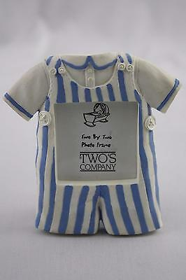 Two's Company Photo Frame Baby Boy Blue Overalls Ceramic Desk Mantel Standing