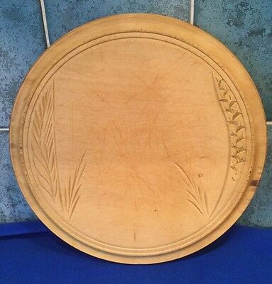 Vintage Carved Circular Wooden Wheat Sheaf Bread Board - Kitchenalia