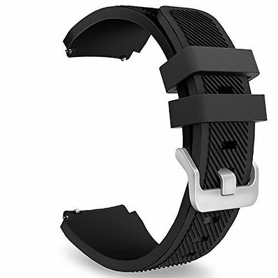 Samsung Gear S3 Frontier Watch Band Soft Silicone Replacement Sport Strap Black
