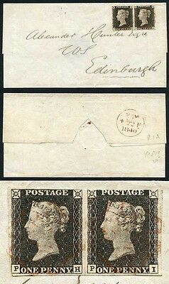 Penny Black (PH/PI) Plate 1a PAIR on 22nd of May 1840 COVER  Fine Four Margins
