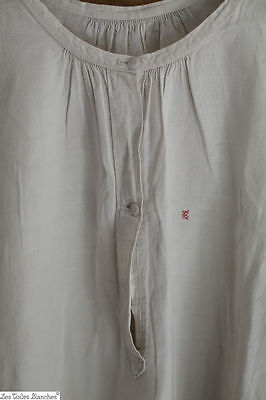 Antique woman linen NIGHTSHIRT patched AC c 1880