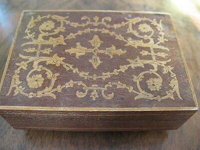 Vintage Inlaid Wooden  Box With Misical Box Inside