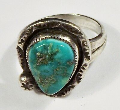 Gene Nataan - NAVAJO - Sterling Silver Royston Turquoise Ring - Size 6 - VINTAGE