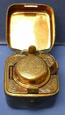 Antique Leather Covered Travelling Inkwell 1880s Gilt Metal Excellent Condition