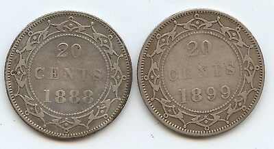 Newfoundland 1888 & 1899 20C Pcs. (#886) Fine. Light Cleaning & Light Edge Ding