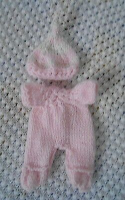 "Doll Clothes fit 8"" 7in Pink Hand knitted romper footed set for husky baby"