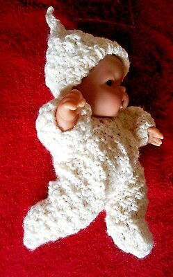 Doll Clothes Ivory Hand knitted romper footed for baby 8 - 9in fit Berenguer 8""