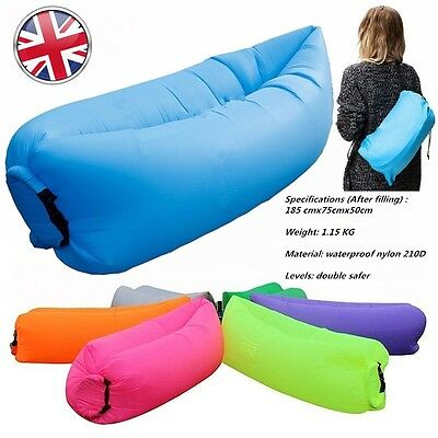 Top Inflatable Air Sleeping Bag Hiking Sofa Beach office Lounge Hangout Lazy Bed