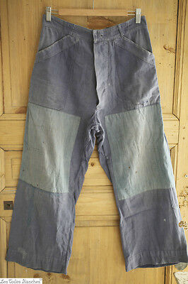 Vintage French WORK WEAR men bleu de travail TROUSERS BORO PATCHED C 1940