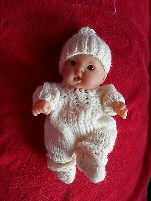"Doll Clothes Ivory Hand knitted romper 3 pcs for baby Berenguer 8"" 9"" cloth body"