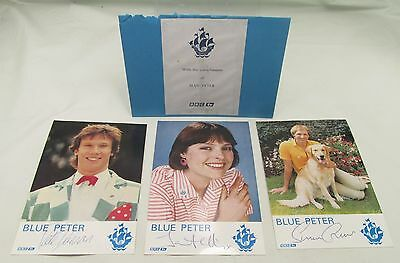 3 x SIGNED BLUE PETER POSTCARDS VINTAGE 1980s BBC TV JANET ELLIS PETER DUNCAN*