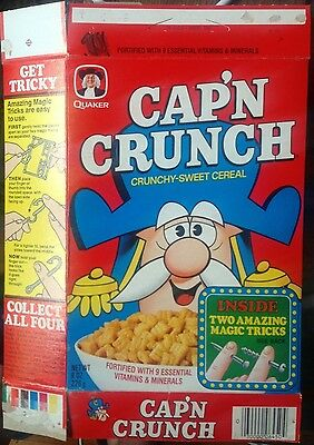 1978 Quaker Cap'n Crunch 8 oz. Magic Trick inside cereal box Captain Quisp
