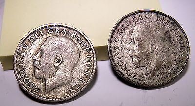 Great Britain, 2 SILVER coins, 1920 One Shilling, 1926 One Shilling - SILVER