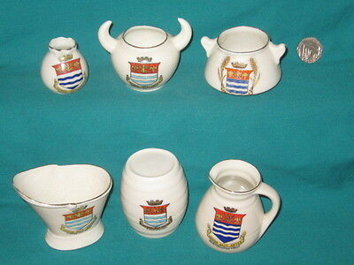 6 Goss / Crested Pieces - all with BURTON-UPON-TRENT crest