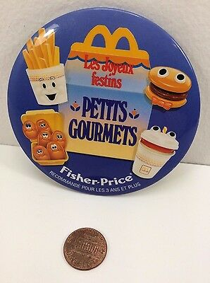 Vintage Mcdonalds Fisher Price Happy Meals Canadian Button Pinback Fun with Food