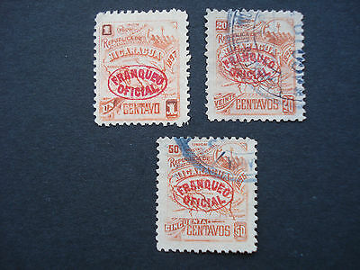 3 Used Official Stamps Nicaragua 1896,1897 Issues