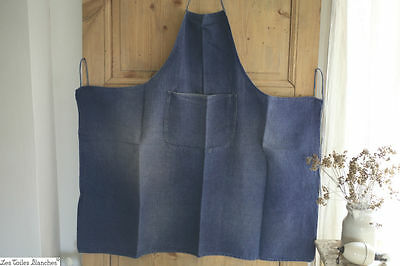 Vintage French APRON blue indigo DENIM WORK WEAR C 1940