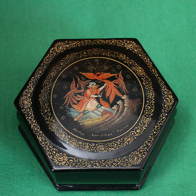 Russian Paper Mache Lacquer Box Folklore Ivan and the Firebird