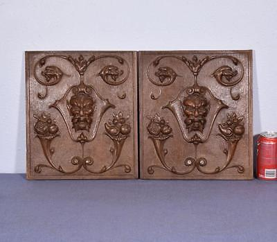 *Pair of French Antique Gothic Carved Architectural Panels in Walnut w/Devils