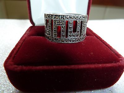 Vintage Sterling Silver Marcasite and Red Glass Stones Wide Band Ring