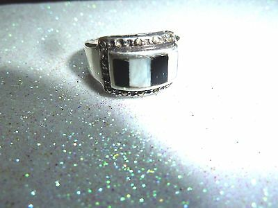 Sterling Silver Mother of Pearl and Onyx Marcasite Vintage Ring