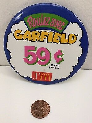 Vintage Mcdonalds Garfield 59 cents Canadian Button Pinback Pin, 1978-1993 item