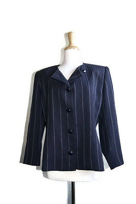 Vintage Christian Dior Blazer Suit 12 Women's Stripes Made in USA Jacket