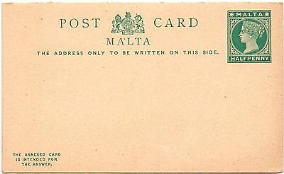 Malta   1/2d GA-Karte mit Anwort  QV   1901 with reply attached