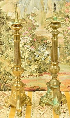 Pair Sublime Antique French Gilded Church Altar Pricket Candlesticks, 19th C