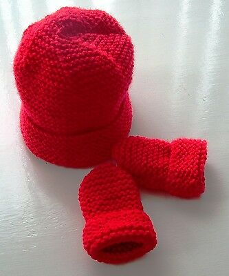 Baby Hand Knitted Hat, Mittens Red, 0-3 Months, New