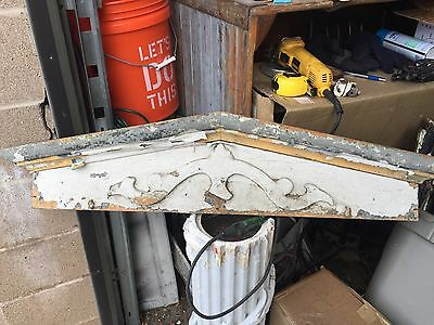 "c1880 Victorian window header pediment - old white paint 40.5"" X 9.5"" X 3"""
