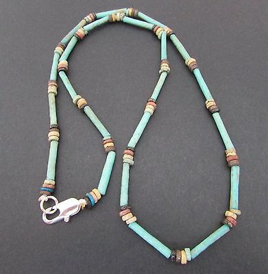 NILE  Ancient Egyptan Faience Amulet Mummy Bead Necklace ca 1000 BC