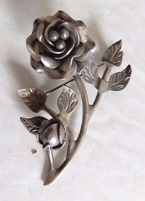 """Vintage Sterling Silver 3D Rose Flower Brooch Mexico 2"""" x 1.25"""""""