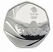 rare 50p2016  olympic team GB swimming coin