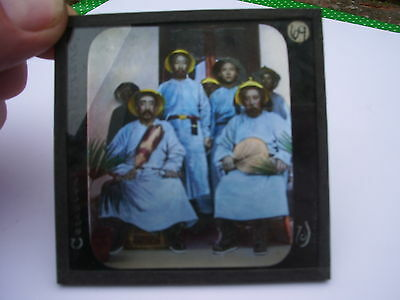 CHINESE OFFICIAL VISITORS glass lantern slides: Celestrials & Barbarians CHINA