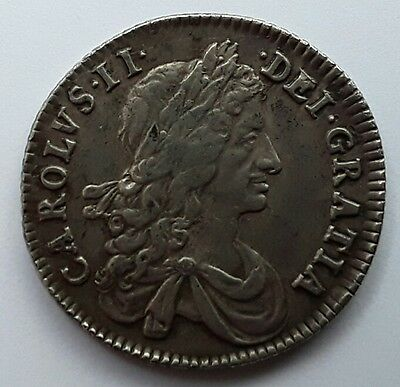Very Scarce King Charles Ii Solid Silver Shilling 1663