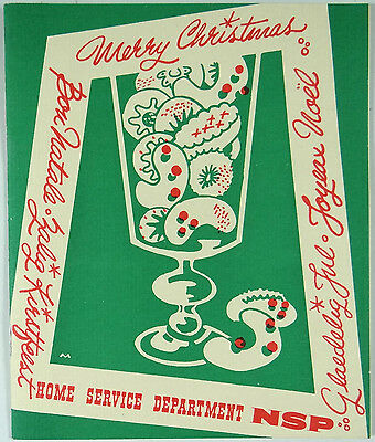 Northern States Power Co. NSP RARE Vintage Christmas Card Recipe Booklet 1940s