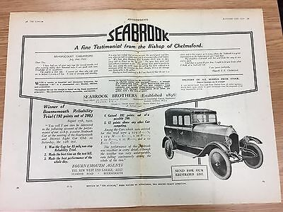 RARE 1922 SEABROOK A4 Double Page B&W Vintage Car Advert