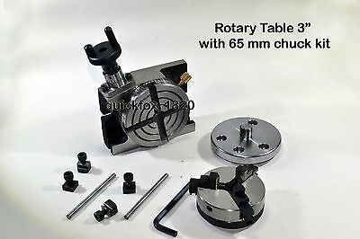 Rotary Table Plain Type 75 mm Ratio 38:1  4 T slots Table + 65 mm Chuck