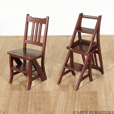 Solid Mahogany Convertible Library Chair Step Ladder Stool