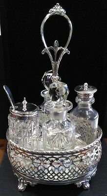 Antique 4 Bottle Silver Plated Cut Glass Cruet / Condiment Set with Silver Spoon